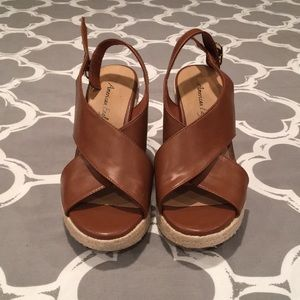 American Eagle Cognac Wedges